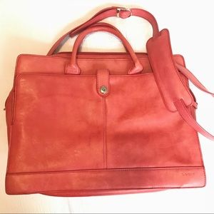 Lodis red leather laptop bag, VGUC